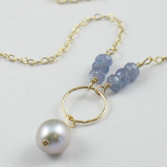 Pearl Tanzanite: Pearl And Tanzanite Necklace