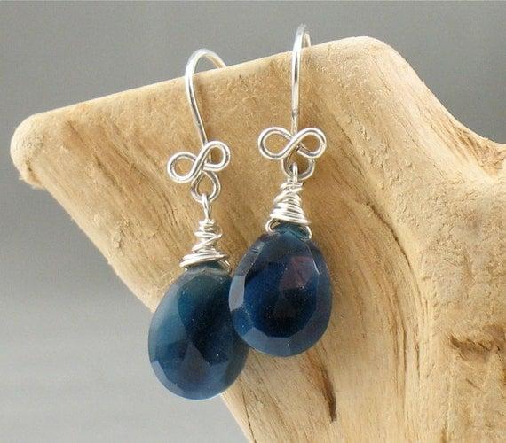 Navy Blue Chalcedony Briolette Earrings