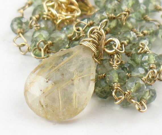 Sage green quartz and rutilated quartz gold necklace for Golden rutilated quartz jewelry