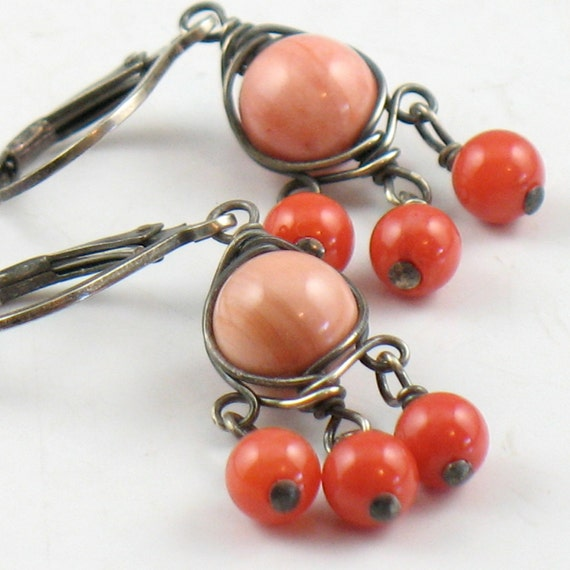 Coral Wrapped Chandelier Earrings Oxidized Silver