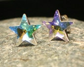 AB Rainbow Star Stud Earrings Swarovski Crystal Pastel Sterling Silver Post Celestial Shooting Galaxy Night Sky Milky Way Pink Lilac Yellow