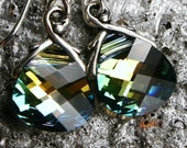 Golden Green Crystal Earrings Sahara Flat Briolette Drop Sterling Silver Petite Dangle Aqua Teal Blue Yellow Gold Metallic Sparkle Sunrise
