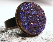 Librae ... Metallic Indigo Blue Titanium Drusy Quartz on Antiqued Copper ... Adjustable Druzy Ring