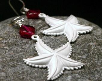 Starfish Earrings White Enamel Ruby Cubic Zirconia Sterling Silver July Birthstone Summer Beach Ocean Fuchsia Pink Women's jewelry Under 25