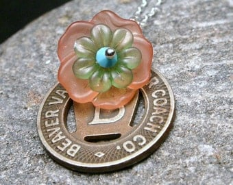 Beaver Valley PA Vintage Transit Token Necklace Layered FlowerPastel Bloom Blossom Floral Pennsylvania Letter B One Fare Spring Poppy