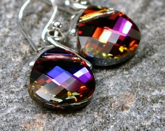 Red Violet Crystal Earrings Fuchsia Pink Purple Volcano Swarovski Flat Briolette Petite Dangle Sparklers Colorful Carnival Circus Lights Hot