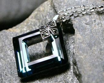 Square Blue Crystal Necklace Bermuda Teal Green Swarovski Cosmic Marcasite Sterling Silver Medieval Shield Celtic Shamrock Clover Dazzling