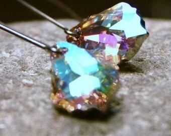 Crystal Rainbow Earrings Parnassus Mega RARE Lilac Swarovski Baroque Sterling Silver Aurora Borealis Oxidized Bright Pastel Pnk Purple