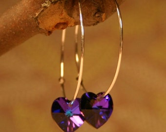 Purple Crystal Heart Earrings Heliotrope Deep Indigo Delicate Sterling Silver Hoop Romantic Valentine Love Bright or Dark Oxidized Grape