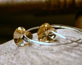 Gold Crystal Heart Earrings Golden Shadow Swarovski Love Heart Sterling Silver Delicate Hoop Simple Minimalist Everyday Romantic Sparkle