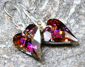 Fuchsia Heart Earrings Fiery Red Pink Wild Swarovski Crystal Sterling Silver Delicate Valentine Gift Tough Love Volcano Pink Teal Blue Green