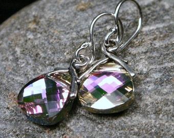 Violet Crystal Earrings Light Lilac Purple Vitrail Flat Briolette Swarovski Sterling Silver Sparkling Pastel Rainbow Delicate Petite Girly