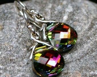 Rainbow Crystal Earrings Vitrail Swarovski Flat Briolette Medium Petite Dangle Teardrop Sterling Silver Women's Jewelry Pink Gold Green Blue
