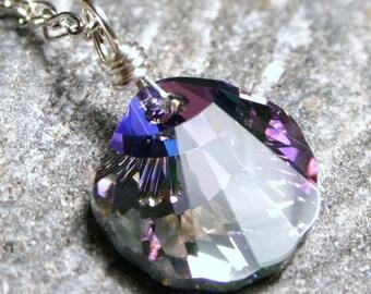 Vitrail Light Lilac Purple Swarovski Crystal Seashell on Sterling Silver Fancy Figure 8 Chain Pastel Pink Blue Scalloped Beach Shell Drop