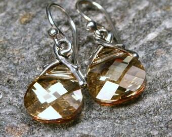 Golden Crystal Earrings Gold Shadow Flat Swarovski Crystal Briolette on Sterling Silver - Petite Dangle Shimmering Teardrop Women's Jewelry
