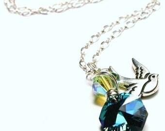 Bluebird Sparrow Necklace Swarovski Aqua Blue Sapphire & Jonquil Yellow with Tierracast Tattoo Sparkling Springtime Sterling SIlver Girly
