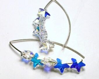 Crystal Star Earrings ... Swarovski AB Pastel Rainbow Stacked Shooting Star ... Sterling Silver Celestial Night Sky  Women's Jewelry