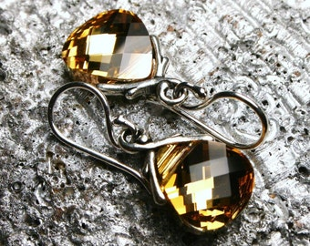 Metallic Gold Crystal Earrings Swarovski Aurum Flat Briolette Drop Chevron Arrow & Sterling Silver Petite RARE Hunger Games Inspired Katniss