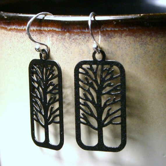LAST PAIR Bare Tree Silhouette Earrings ... Black Matte on Sterling Silver Earwires  Autumn Women's Jewelry Gifts Under 20