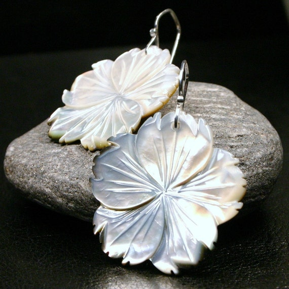 LAST PAIR Carved Flower Earrings Large Hawaiian Hibiscus Plumeria Mother of Pearl Fancy Shell Earrings Iridescent Petals Floral Hula