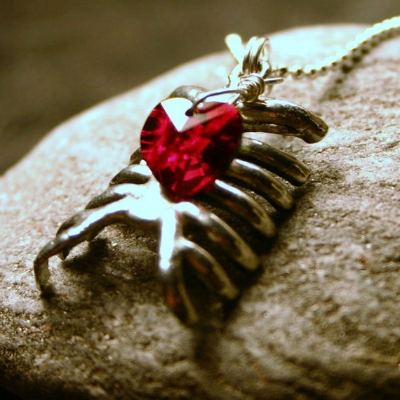 Rib Cage Necklace Zombie Inspired Anatomical Ribcage Red Black Heart Gothic Halloween Costume Goth THE ORIGINAL Gifts under 25 Autumn Fall