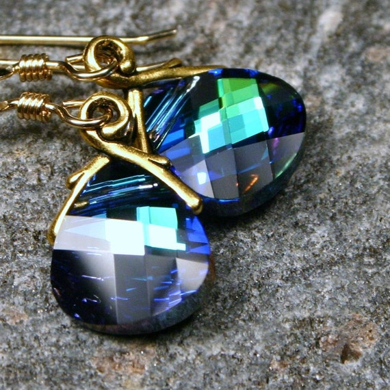 Teal & Gold Earrings Deep Blue Green Sphinx Dark Peacock Feather Sapphire Emerald Dazzling Swarovski Crystal 14k Gold Filled Gifts Under 25
