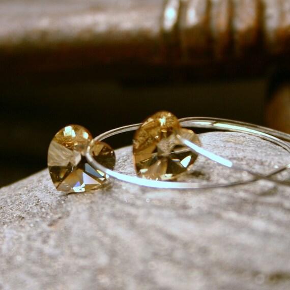 Gold Crystal Heart Earrings Golden Shadow Swarovski Love Heart Sterling Silver Delicate Hoop Simple Minimalist Everyday Romantic Sparkle