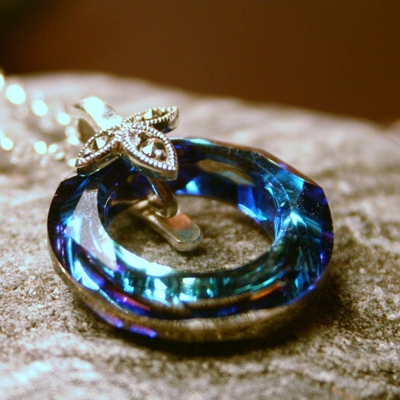 LAST ONE Loughs of Killarney ... Bermuda Teal Blue Green Swarovski Ring and Marcasite Sterling Silver ... Celtic Necklace