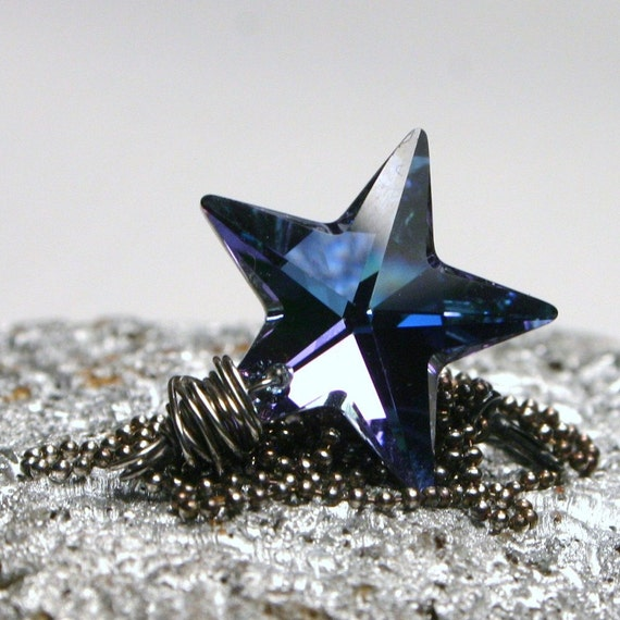 LAST ONE Supernova ... Rare Aqua Vitrail Light Swarovski Crystal Star on Wrapped Oxidized Sterling Silver ... Necklace ... Light Lilac Blue