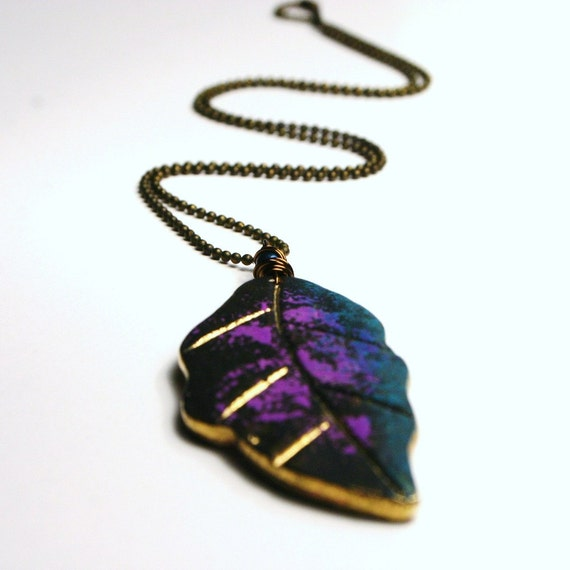 Hemlock ... Fuchsia Purple Blue Teal Metallic Gold and Black Hand Painted Brass Leaf ... Woodland Necklace