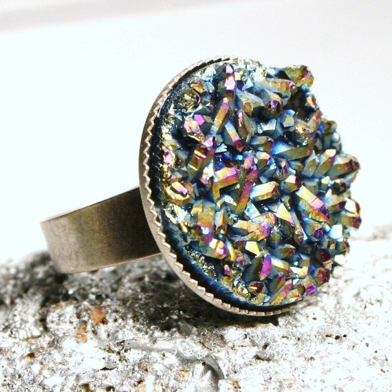 Drusy Ring ... Arcturus ... Metallic Rainbow Titanium Druzy Quartz on Antiqued Silver ... Adjustable