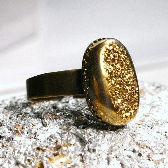 OOPS DISCOUNTED Capella ... Metallic Gold Titanium Drusy Quartz on Antiqued Bronze ... Adjustable Druzy Ring