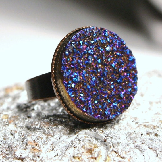 Phoenicis ... Metallic Indigo Blue Titanium Drusy Quartz on Antiqued Copper ... Adjustable Druzy Ring