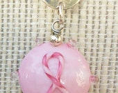 Breast Cancer Pink Ribbon Necklace