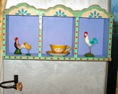 RUSTIC COLORFUL MEXICAN FOLK ART TRIPLE NICHE NICHO DISPLAY YOUR COLLECTIBLES SPICE RACK SHADOW BOX