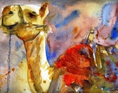 camel print | camel picture | Camel Art | watercolor painting | animal artwork | animal paintings | watercolor print | animal art | red tan