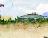 Commission your own Vacation or Honeymoon Souvenir in a Watercolor Painting 11x14 matted sample is Beach on Cape Cod