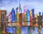 painting of New York, Brooklyn Bridge, NYC Watercolor Canvas Art HOLIDAY SALE