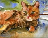 Cat Lover Gift Ginger Tabby Cat | watercolor painting | fine art print