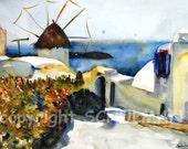 Greek Island Landscape Painting | Watercolor Print | mykonos greece | Mediterranean fine art print