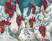 Chicken Art | farm animal watercolor painting  | fine art PRINT | country kitchen decor | FRAMEABLE PRINT