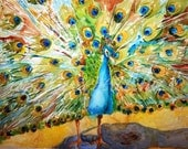 Canvas Print | green Bird | Peacock art | Fine art print | Art from watercolor painting | turquoise yellow green