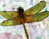 Dragonfly wall Art PRINT | mixed media | collage art | FRAMEABLE PRINT
