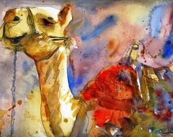 camel print | camel picture | Camel Art | watercolor painting | animal artwork | animal paintings | watercolor print | animal art | red tan
