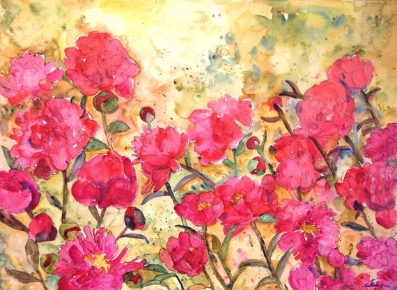 Rose art rose paintings floral watercolor painting of pink for Bright flower painting