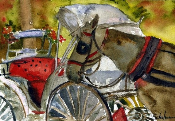 """Horse Painting 11x14"""" matted art,  original artwork for sale"""