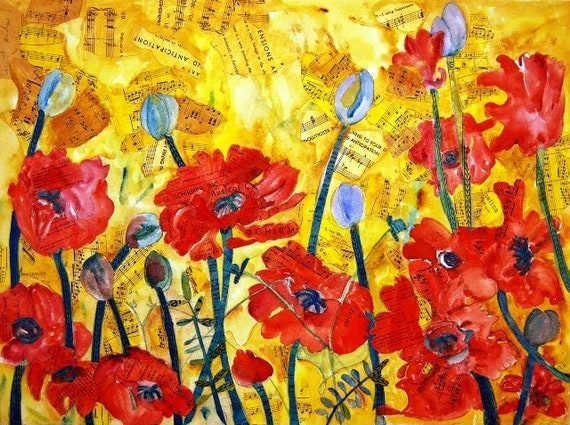 floral PRINT, red poppies, flower painting, floral art, poppy painting, poppies painting poppy art red yellow mixed media art | collage art
