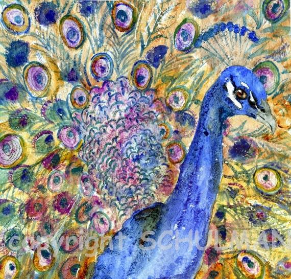 Amethyst Peacock Art   Blue lavender Purple   watercolor painting PRINT   FRAMEABLE PRINT