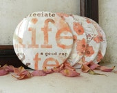Blush Peach and Beige Garden Tea Party Kitchen Coasters A Good Cup of Tea