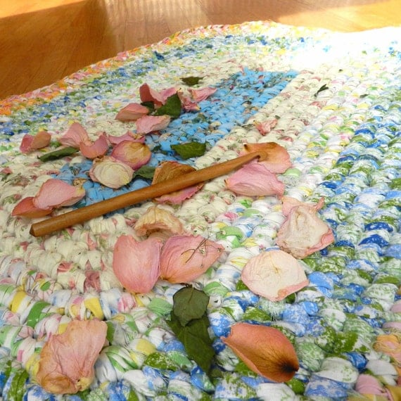 Crochet Rag Rug Cottage Chic Aqua And Peach